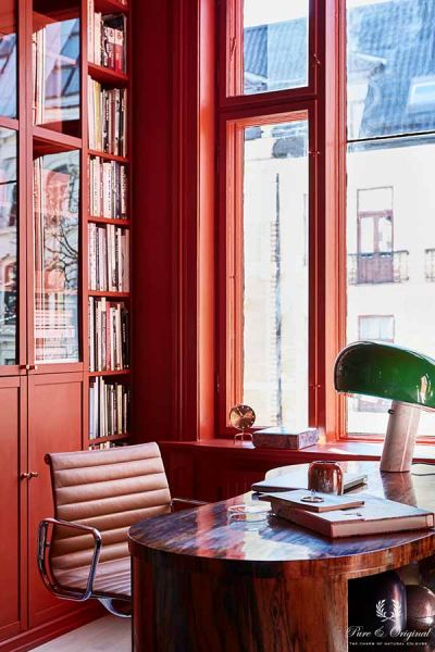Colour Collection office workspace, Classico and Traditional Paint lacquer in Brown Red