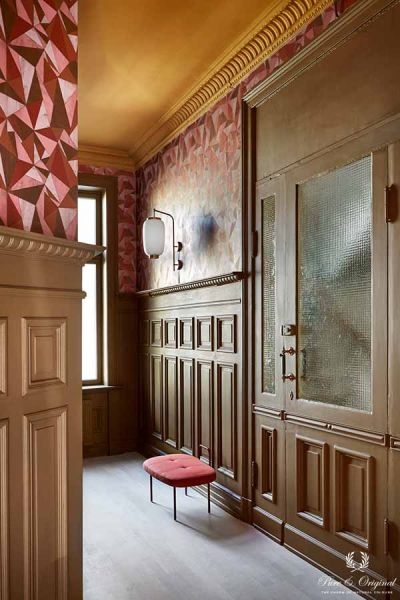 Colour Collection hallway in Classico Ocre, Licetto and Traditional Paint Praline