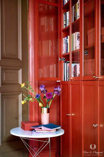Colour Collection office closet, Traditional Paint and Classico in Brown Red, lacquer Praline