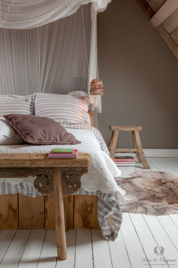 Floor Paint in the colour White and Classico chalk paint River Silt, applied in the bedroom