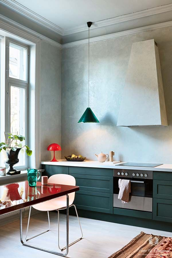Colour Collection kitchen with Marrakech Walls and Classico in Polar Blue, lacquer in Blac