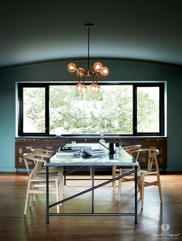 Dining room in a blue green shade, Blue Reef Classico