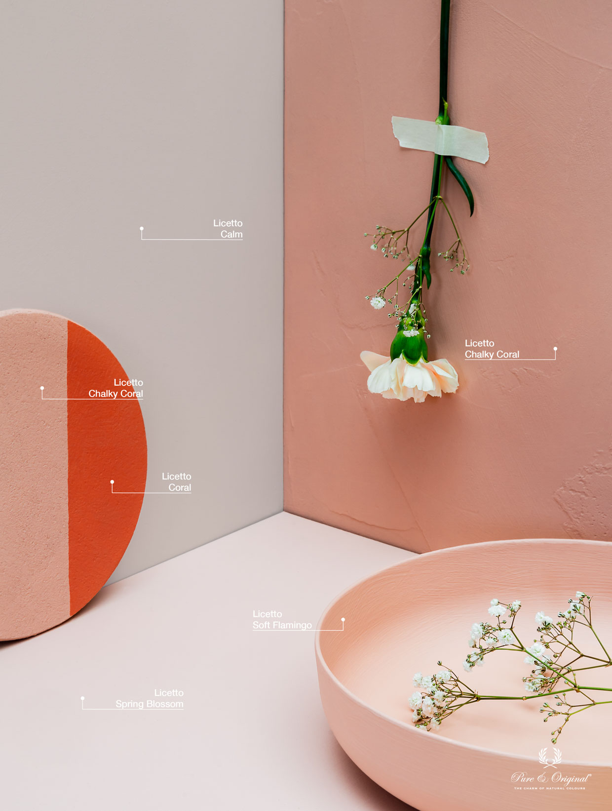 Soft pink shades for in the interior