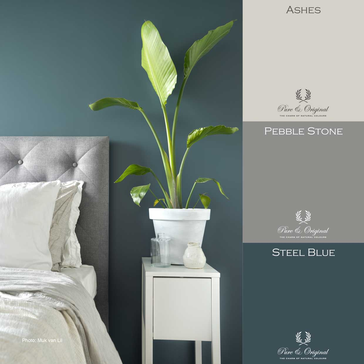 Green-ish blue bedroom with matt finish